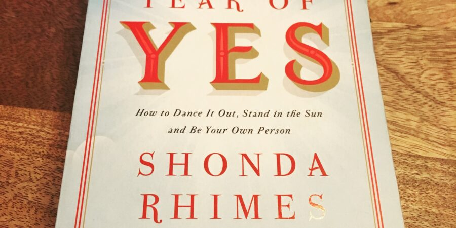 Overhead shot of The Year of Yes, paperback book by Shonda Rhimes